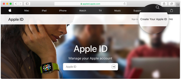Create APple ID with web on Mac
