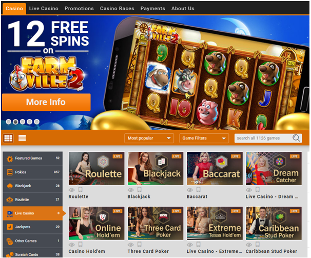 Emu Casino Live dealer games