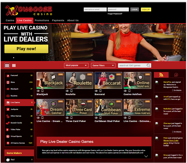 Mongoose casino live casino