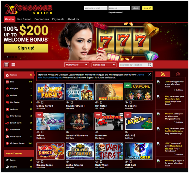 Mongoose casino for Mac players