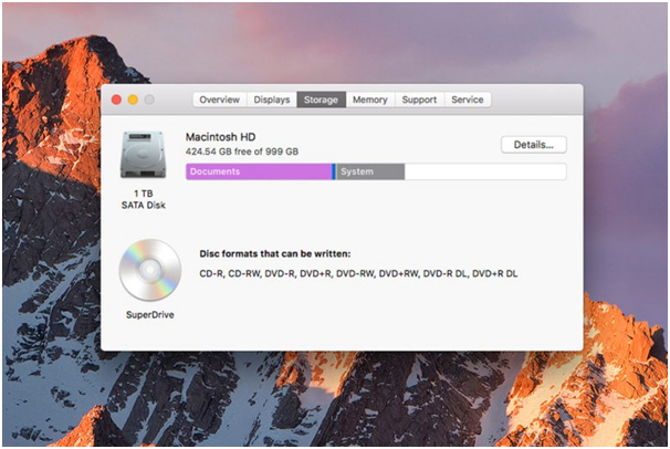 optimize storage in Mac to free space